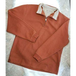 ARROW Rust/Tan Soft 1/4 Zip Sweatshirt Pullover Lg